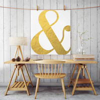 "Gold Ampersand print & art print ""and"" symbol printable gold typography wall art gold wall art faux gold foil art fashion print typography"
