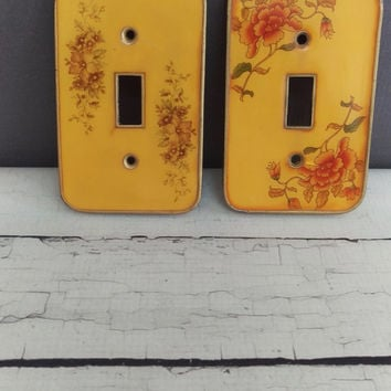 Vintage Light Plates/ Vintage Enamel Light Plates/ Yellow Light Switch Plates/ Vintage Light Switch Cover / Shabby Chic Light Switch Cover