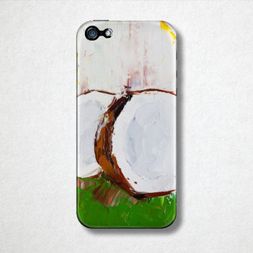 Coconut Art, Fruit Phone Case, Samsung Galaxy S4, Samsung Galaxy S5, Artistic Phone Case, Phone Case Art, Abstract Phone Case, Gift Idea