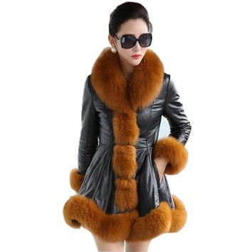 Black Warm Winter Jacket Leather Big Size 6xl Faux Coat Parka Windbreaker Women Long Synthetic Fox Mink Fur Collar