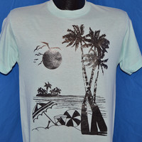 80s Sunset Beach Vacation t-shirt Light Teal Black t-shirt Medium