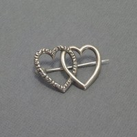 Antique Victorian Sterling HEART Brooch DOUBLE Hearts Pin Repousse Scrollwork Vintage Love Token Wedding Jewelry