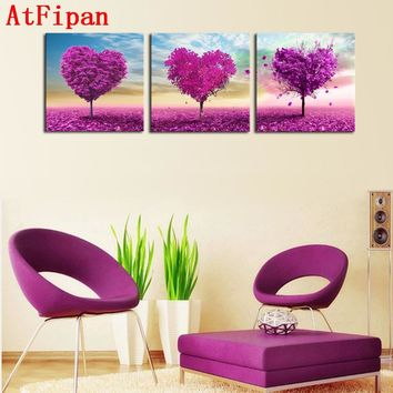AtFipan New Sale Cuadros Paintings Unframed 3P Canvas Painting Loving Trees Wall Pictures For Living Room Large Hd Modular Oil