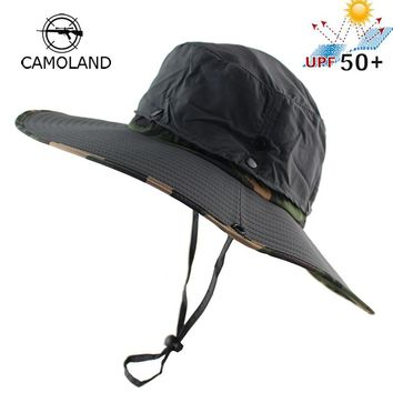 UPF 50+ Water Resistant Breathable Long Wide Brim Bucket Hat Men Women Boonie Hat Summer UV Protection Army Camo Sun Hat Fishing