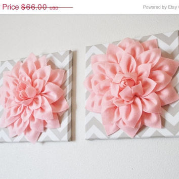 "MOTHERS DAY SALE Two Wall Flowers -Light Pink Dahlia on Taupe and White Chevron 12 x12"" Canvas Wall Art- Baby Nursery Wall Decor-"