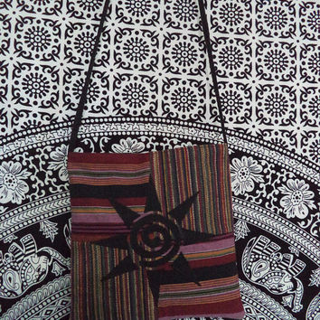 One of a kind bag by Boho Rain/ swirl sun bohemian bag made with upcycled fabric/ tribal swirly black sun on woven stripe