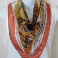 Vintage Large Scarf Fall Colors Musical Waltzing Matilda Australia Theme 27 x 28 Inches
