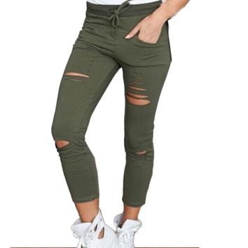 Slim Stretch Drawstring Army Green Pants