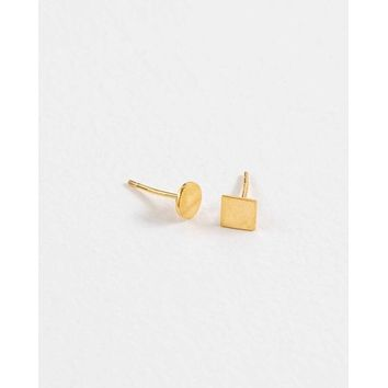 Square to Circle Mismatched Stud Earrings