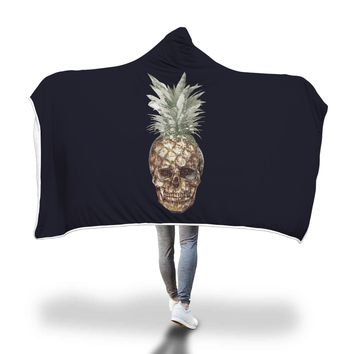 Pineapple Skull Hooded Blanket Adult And Youth Sizes Black Color