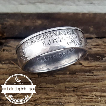 Pennsylvania 90% Silver State Quarter Coin Ring
