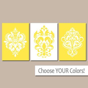 DAMASK Wall Art, CANVAS or Prints, Yellow Bedroom Decor, Yellow Bathroom Pictures, Scroll Design, Home Decor, Girl Nursery, Set of 3