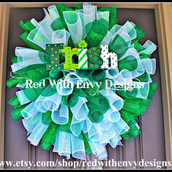 St. Patrick's Day Wreath, Wreath, Deco Mesh Wreath, Spiral Wreath, Curly Wreath, St. Patrick's Day