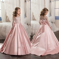 Christmas Fancy Flower Girl Dress Floor Length Button Draped Pink Long Sleeves Tulle Ball Gowns for Kids Glitz 0-14Y