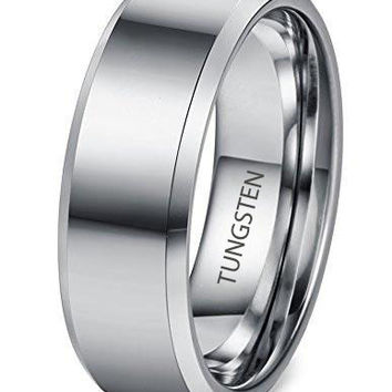 8mm Tungsten Carbide Rings for Men Wedding Band Engagement Promise High Polish