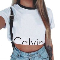 Calvin Klein Fashion Round neck Short Sleeve Women T-shirt Crop Tops