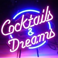 NEON SIGN For COCKTAILS AND DREAMS Signboard REAL GLASS BEER BAR PUB Club Decor Signage display christmas Light Signs 17*14""