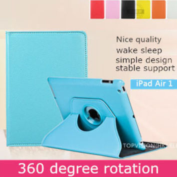 Nice quality stand leather smart case for ipad air 1 cover for apple ipad air case 360 rotating  iPad 5 bling protective skin