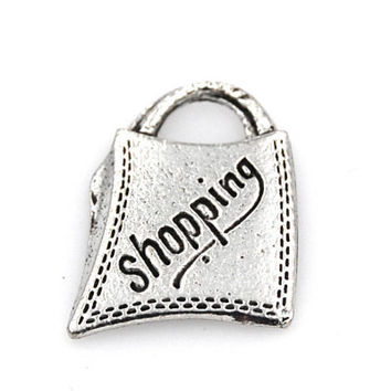 Shopping Bag Silver Pewter Charm -1