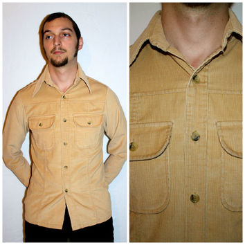 Vintage Men's LEVI'S CORDUROY Shirt, 70s Camel Tan Button Up Shirt by Levi's Panatela Signature Collection