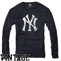 Majestic Threads New York Yankees Vintage  Tri-Blend Logo Long Sleeve T-Shirt - Navy Blue