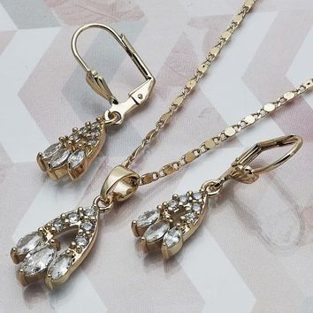Gold Layered Women Earring and Pendant Adult Set, with White Cubic Zirconia, by Folks Jewelry