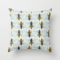 Honey Bee Throw Pillow by Cat Coquillette