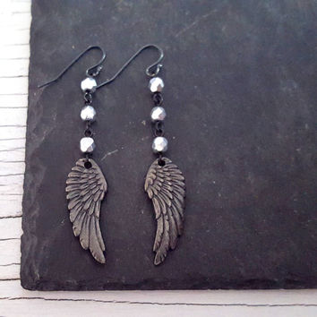 Black Angel Wing Earrings, Oxidized Silver Wing, Black Silver Bead Long Dangle Rustic Earrings Rustic Jewelry, Rocker Edgy Jewelry Rock Chic