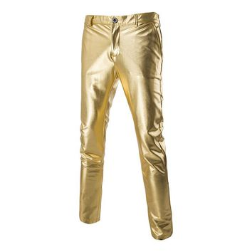 Brand Trend Metalic Gold Pant Men Night Club Fashion Mens Slim Fit  Lightweight Trousers Party Stage Costumes Shiny Pants B3023
