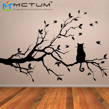 Cat On Tree Branch Birds Vinyl Wall Sticker Wall Art Decorative Stickers,Glass Window Sticker Kitchen Wall Stickers Home Decor