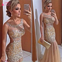 Long Champagne Charming Popular Prom Dresses 2017 Sparkle Beads Backless Mermaid Sexy Prom Dress Gown Discount Evening Dress