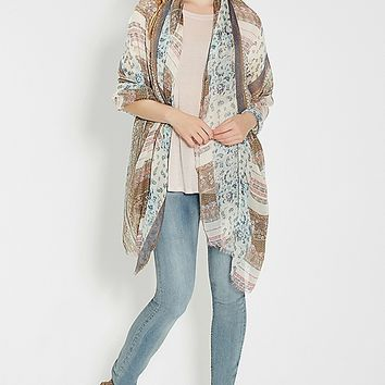 mixed pattern scarf wrap | maurices