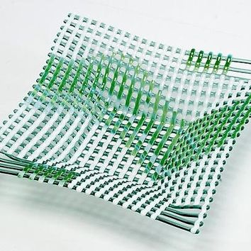 Light Green Double Wave Square Glass Basket by Ed Edwards: Art Glass Bowl | Artful Home