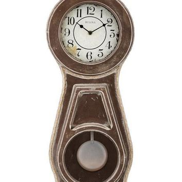 Bulova Guilford French Country Style Rustic Pendulum Wall Clock - Triple Chime