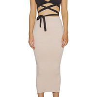 Strappy Cutout Crop Top Midi Skirt Bottom Matching Set