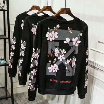 Brand Woman and Men OFF-WHITE Print Sweatshirts Hip hop Streetwear Skateboards Pullovers I-A-GDPPZX