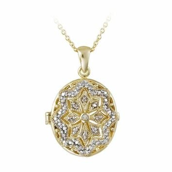 18K Gold over Sterling Silver Diamond Accent Filigree Oval Locket Necklace