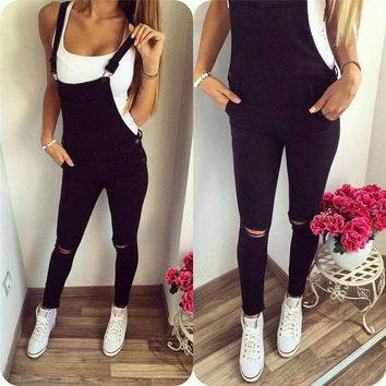 DCCKLW8 New Womens Bodycon Jumpsuit Jeans Denim Rompers Bib Overalls Trousers Pants