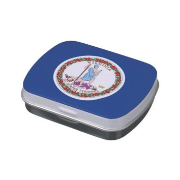 Patriotic candy tins with Flag of Virginia