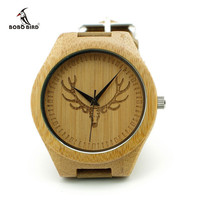 Engraved Buck Head Natural Wood Watch best for gift