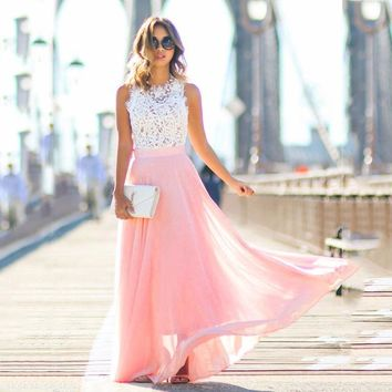 Elegant Crochet Lace Sleeveless Dress