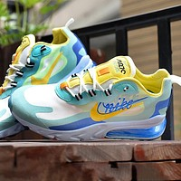 NIKE AIR MAX 270 REACT joint foam air cushion sports casual running shoes Blue yellow