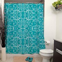 Silent Era, Turquoise Shower Curtain