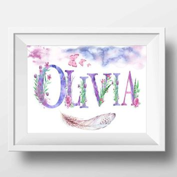 Custom name printable Purple Girl wall art Personalized name sign Baby girl gift Purple and pink floral nursery name art Lilac Lavender name
