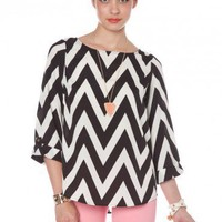 Forever Zig Zag Blouse in Classic - ShopSosie.com