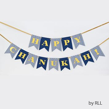 'HAPPY CHANUKAH!' FLAG BANNER, TWO 6.5' STRINGS, CARDED