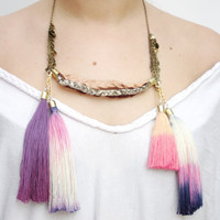 LANE/ Multicolored leather tribal necklace