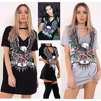 Fashion Casual Pattern Print Short Sleeve Long T-shirt Mini Dress