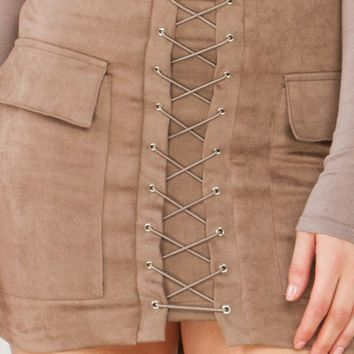 Lace Up Suede Mini Skirt in Mocha and Sand