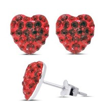 Synthetic Ruby Earrings 925 Silver Stud Heart Shaped Earrings CZ Crystal Earrings